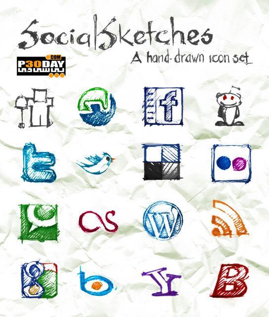 دانلود آیکون سایت های اجتماعی Social Sketches Icons