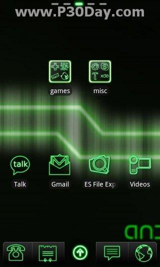 دانلود تم سبز رنگ آندروید Green Neon Theme 1.5