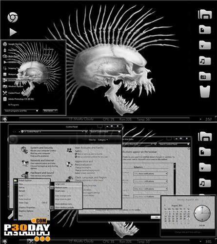 دانلود تم زیبای ویندوز سون با موضوع اسکلت و جمجمه Skull and Bone Theme