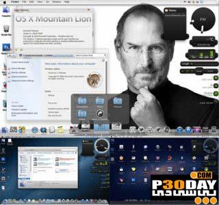 پک تم سیستم عامل مکینتاش Mac Mountain Lion Skin Pack 1.0 برای ویندوز 7