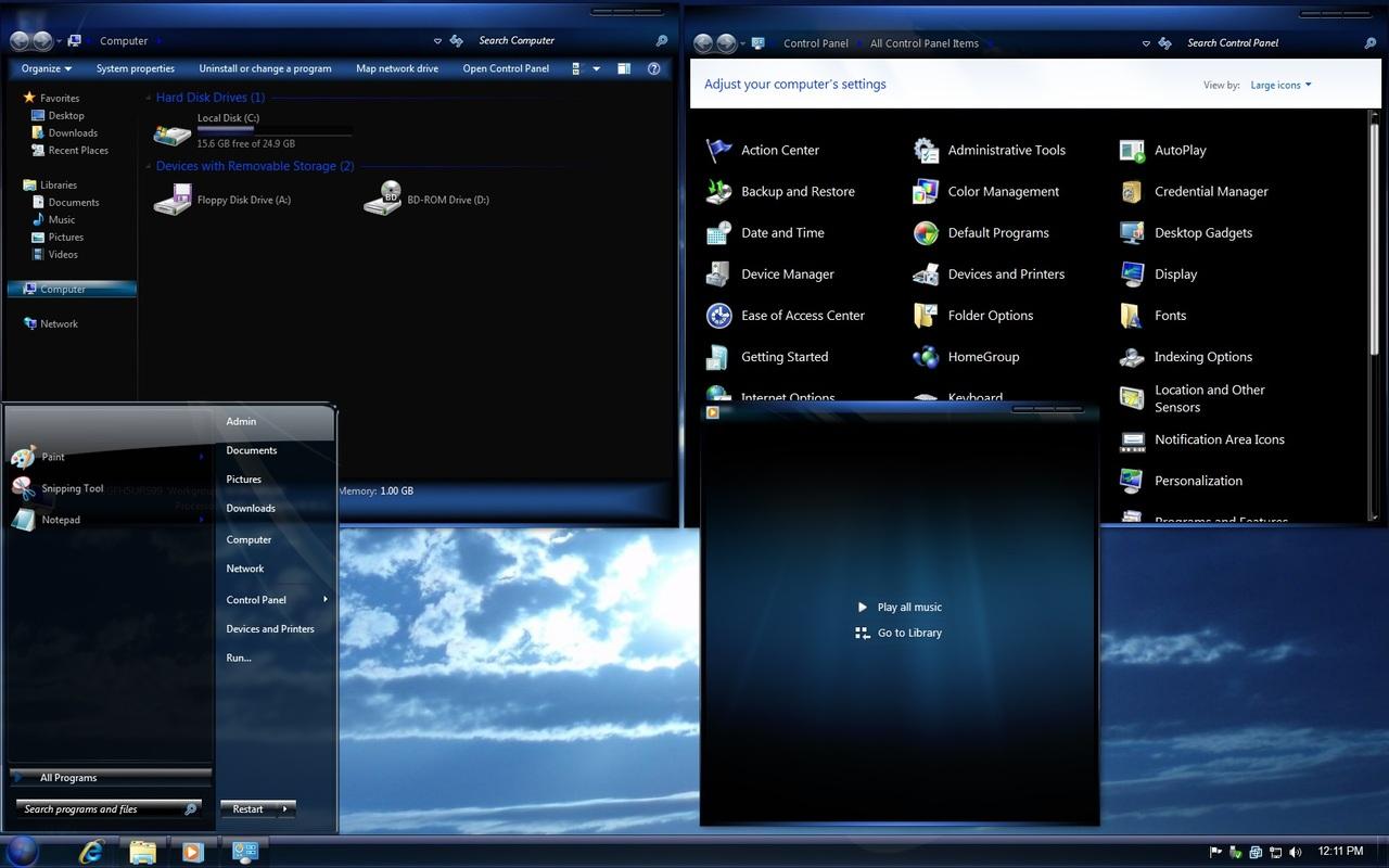 دانلود تم زیبای آبی ویندوز 7 Windows 7 Blue Theme