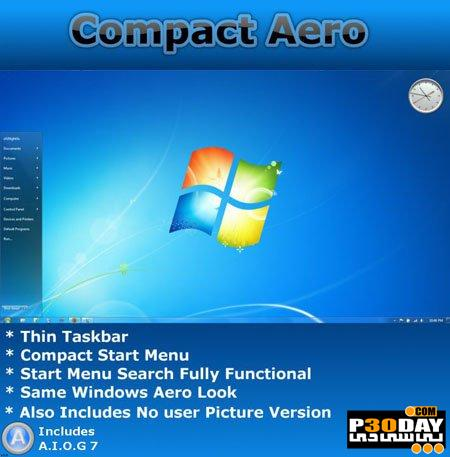 دانلود تم زیبای ویندوز سون Compact Aero v2 - Theme For Windows 7