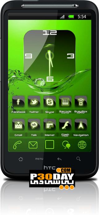 دانلود تم سبز رنگ آندروید Adw Theme Crystal Green HD 2