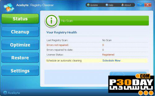 دانلود نرم افزار کم حجم پاکسازی رجیستری Acebyte Registry Cleaner 1.0.0.0