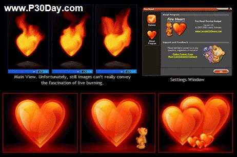 نمایش قلب تپنده بسیار زیبا بر روی دسکتاپ Fire Heart