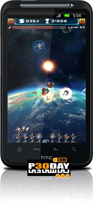 بازی جدید دفاع از قلعه آندروید Asteroid Defense 2.04 HD