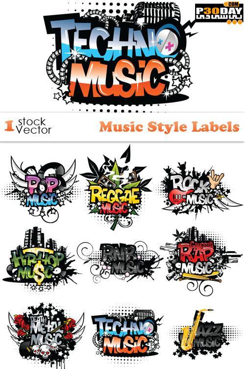 دانلود وکتور موزیک Music Style Labels Vector