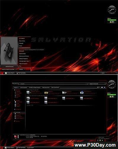 تم ویندوز 7 جدید قرمز رنگ Red Salvation