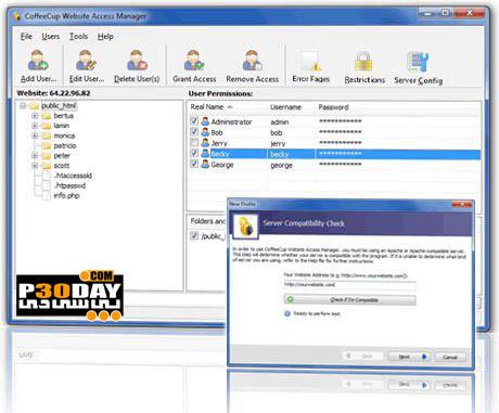 رمزگذاری بر روی وب سایت ها CoffeeCup Website Access Manager v4.0.214