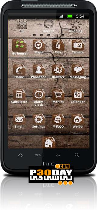 دانلود نم کلاسیک و بسیار زیبای ZT Wood Theme GO Launcher EX v1.1 آندروید
