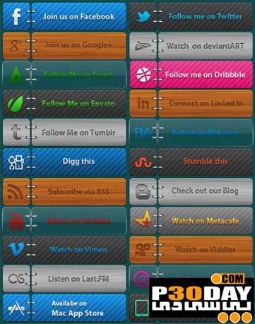 مجموعه فایل های لایه باز فوق العاده زیبای Social Media Web Buttons