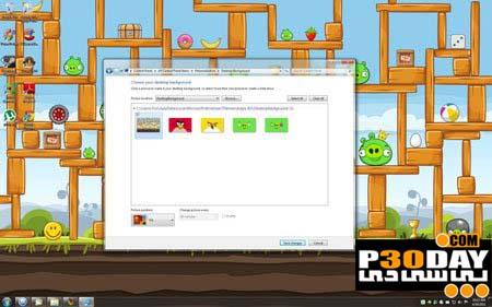 دانلود تم فوق العاده زیبا و جذاب Angry Birds برای ویندوز 7