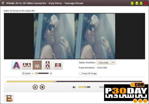 نرم افزار تبدیل ویدیوهای 3D با 4Media 2D to 3D Video Converter 1.1.0