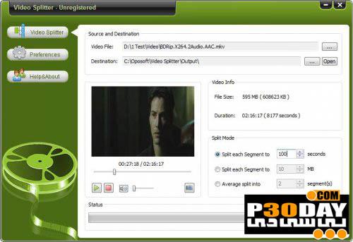 دانلود نرم افزار برش فیلم ها Oposoft Video Splitter v7.3