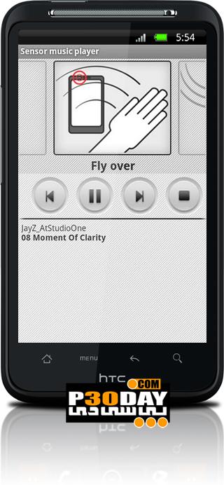اجرای آهنگ موبال آندروید بدون لمس آن Sensor music player v0.95