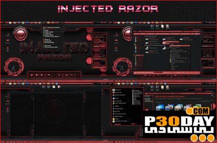 دانلود تم بسیار زیبا و جذاب Injected Razor برای ویندوز 7