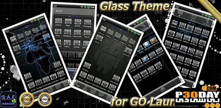 تم فوق العاده زیبای آندروید GLASS GO Launcher EX Theme v1.02
