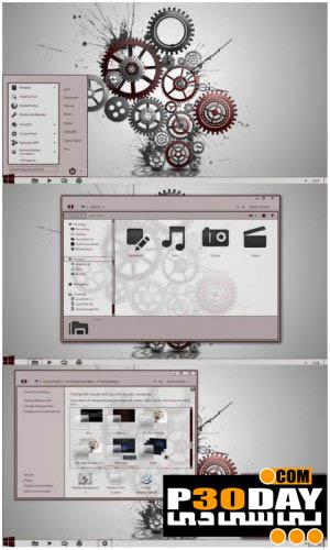 دانلود تم شیک و بسیار زیبای Red and Gray برای ویندوز 7