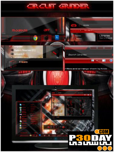 دانلود تم شیک و بسیار زیبای Circuit Grinder برای ویندوز 7
