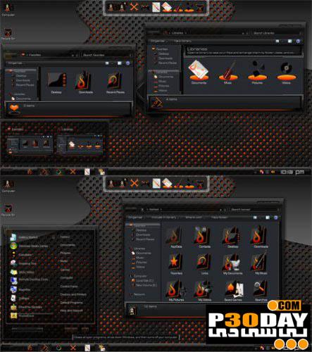 دانلود تم فوق العاده زیبا و جذاب Fire Skin Pack 1.0 برای ویندوز 7