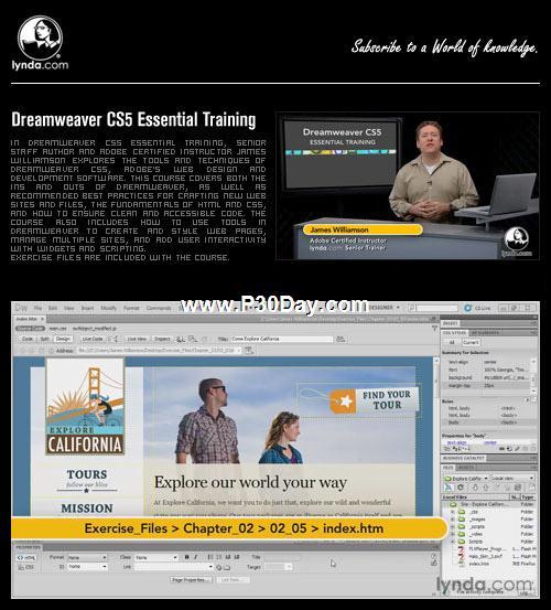 دانلود آموزش تصویری کامل Lynda Dreamweaver CS5 Essential Training