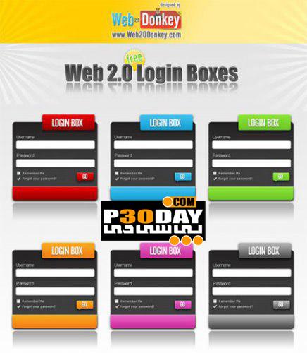 مجموعه فایل های لایه باز صفحه لوگین Web 2.0 Login Boxes