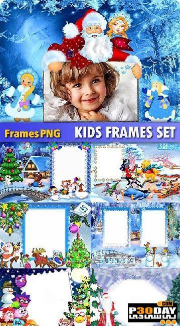 دانلود فریم آماده عکس New Year Children Photo Frame Templates