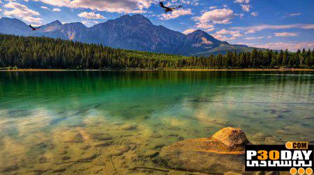 دانلود اسکرین بسیار زیبا و دلنشین Green Lake Mountain Screensaver