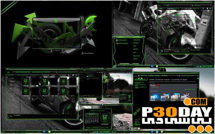 دانلود تم جذاب و بسیار زیبای Devil MotorBike Green برای ویندوز 7