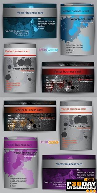 دانلود کارت ویزیت های کثیف Business Cards Grunge Vector