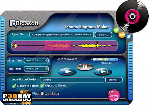 نرم افزار ساخت صدای زنگ آیفون Bigasoft iPhone Ringtone Maker V1.9.1.4331