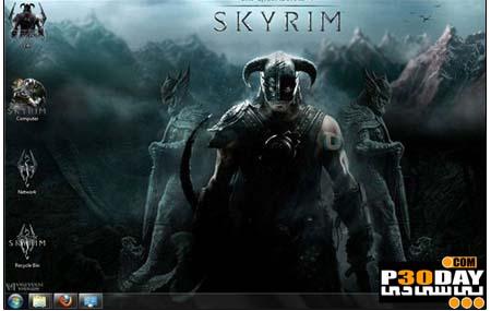 دانلود تم بسیار زیبا و شیک Elder Scrolls Skyrim Theme برای ویندوز 7