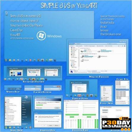 دانلود تم ویندوز سون Simple 8 VS Theme For Windows 7