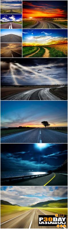 دانلود 10 تصویر بسیار زیبا و با کیفیت از جاده Road Cliparts