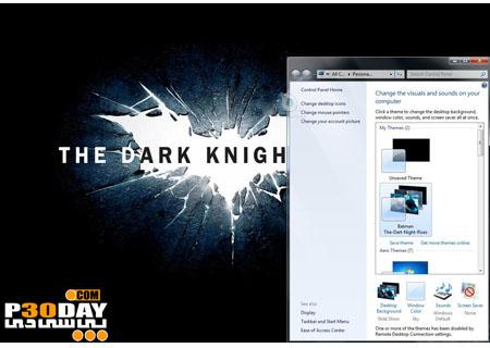 تم فوق العاده زیبا Batman: The Dark Knight Rises Theme برای ویندوز 7