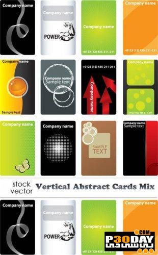 دانلود کارت ویزیت های آماده بصورت ایستاده Vertical Abstract Cards Mix