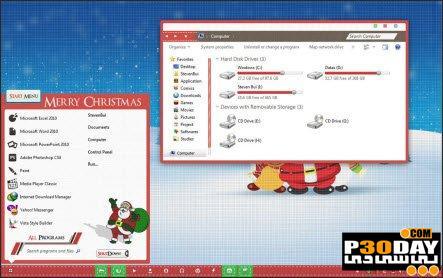 دانلود تم کریسمس مخصوص ویندوز سون Christmas VS Theme For Windows 7