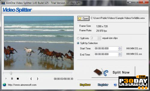 دانلود نرم افزار جداسازی فایل های ویدیویی AimOne Video Splitter 1.43