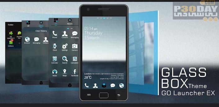 دانلود تم شیشه ای آندروید GlassBOX Theme GO LauncherEX v1.1