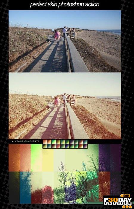 دانلود اکشن و گرادینت آماده فتوشاپ Photoshop Action & Vintage Gradiant