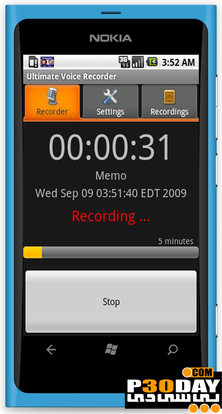 نرم افزار ضبط مکالمات و صدای محیط ویندوز فون Ultimate Recorder v1.1
