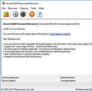 بازیابی رمز RAR با Accent RAR Password Recovery 3.61