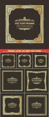 دانلود Vintage vector set gold retro frame - حاشیه های آماده