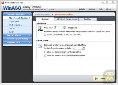 WinASO EasyTweak 3.3.0 - بهینه سازی ویندوز XP و ویندوز 7