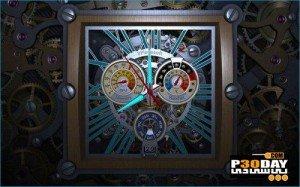 اسکرین سیور سه بعدی ساعت Skeleton Clock 3D
