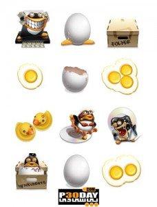 مجموعه آیکون های طرح مرغ و تخم مرغ Comic Chick and Egg Icons Pack Collection
