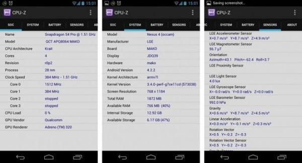 دانلود CPU-Z v1.37 - مشخصات سخت افزار گوشی اندروید