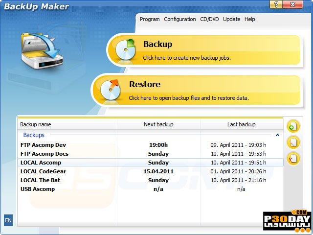 BackUp Maker Professional 7.305 - Backup