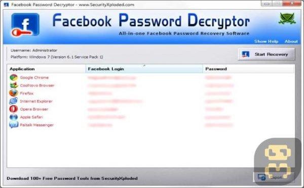 Facebook Password Decryptor 15.0 - بازیابی رمز حساب فیسبوک