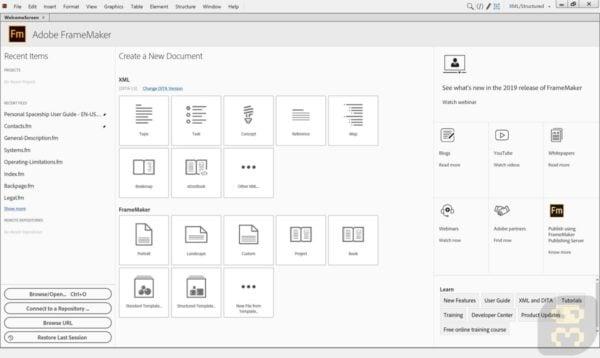 دانلود Adobe FrameMaker 2019 v15.0.6.956 - ساخت و انتشار قالب XML